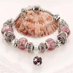 Jewelry - Purple Silver Charm Bracelet